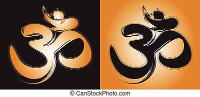 Om Aum hinduism symbol - Abstract representation of the...