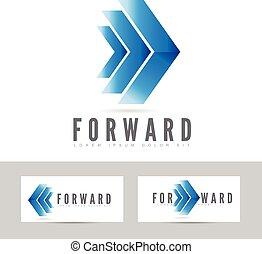 Blue forward logo arrow
