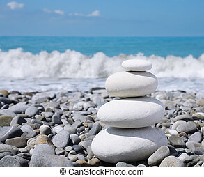 Stone zen-like balance - balance white stones zen-like on a...