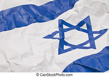 israel flag detail - wrinkled israel flag, detail photo,...