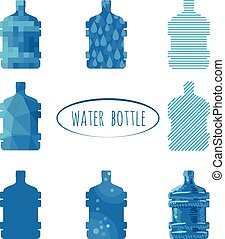 Water bottle sign - set of stylized big plastic bottle for...