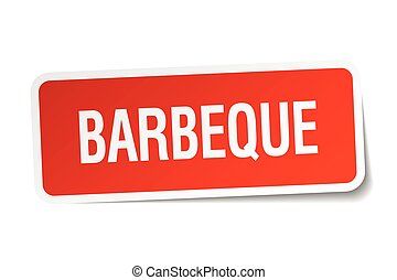barbeque red square sticker isolated on white