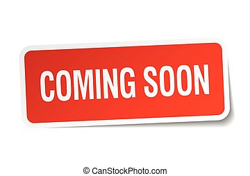 coming soon red square sticker isolated on white