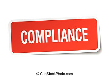 compliance red square sticker isolated on white