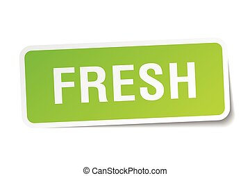 fresh green square sticker on white background