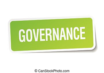 governance green square sticker on white background