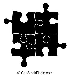 Vector black four puzzle icon on white background. eps 10