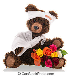 Bear with pain and flowers isolated over white background -...