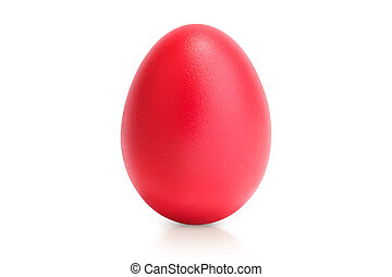red egg isolated on white with reflection