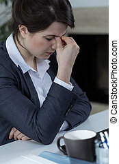 Tired businesswoman having sinus pain - Portrait of tired...