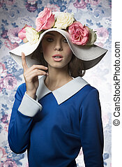 summer girl fashion with hat vintage - beauty spring...