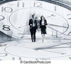 Business people walking and talking in the street - Collage:...