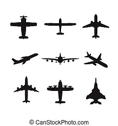 Different vector airplanes icon set - Different monochrome...