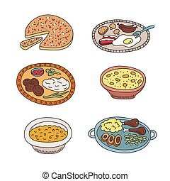 Set of vector pied doodle food icons in flat style - Set of...