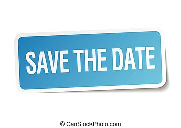 save the date blue square sticker isolated on white