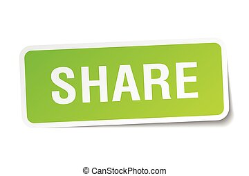 share green square sticker on white background