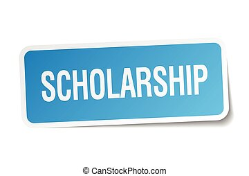 scholarship blue square sticker isolated on white
