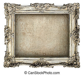 antique silver frame with empty grunge canvas