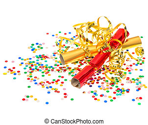 golden streamer, party cracker and confetti over white...