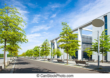 moderne urban city landscape with trees and sky - moderne...