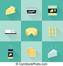 all cheese types icon set - vector flat style all kind of...