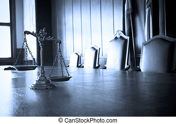 Decorative Scales of Justice in the Courtroom