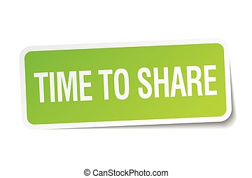 time to share green square sticker on white background
