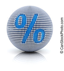 Percentage icon on globe formed by dollar sign, 3d render