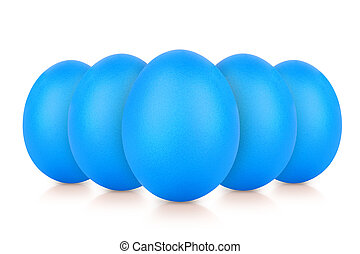 group of blue eggs isolated on white reflection