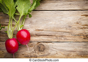 Radish on the wooden table.