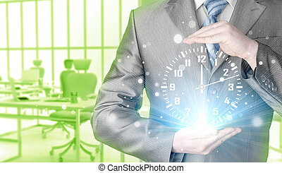 Image of businessman holding clock against illustration...