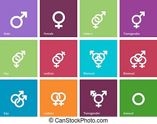 Gender identities icons on color background