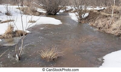 Spring Melting Of Snow On The River, In April.