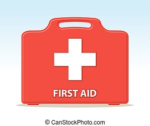first aid kit briefcase illustration with cross