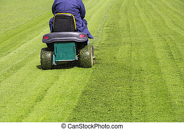 Mowing the grass motor lawn mower on a football field