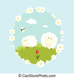 Landscape farm with sheeps and bee cartoon nature vector illustration