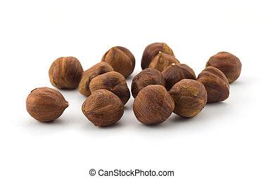 Hazel nuts isolated on white background