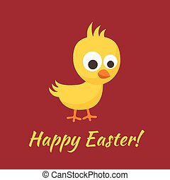 Happy Easter - Easter greeting with small yellow chick in...