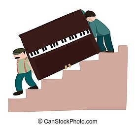 Moving a piano downstairs - A pair of removal men carry a...