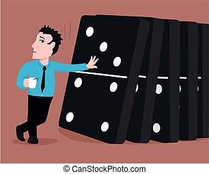 Toppling the dominoes - Cartoon graphic of a man...