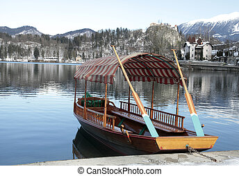 traditional Slovenian boat on Lake Bled, Slovenia - A...