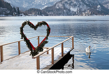pier and heart arch, Lake Bled, Slovenia - Beautiful winter...