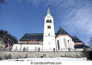 Saint Martin Church at Lake Bled, Slovenia - Neo Gothic...