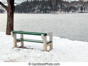 empty bench on Lake Bled, Slovenia - Beautiful winter...