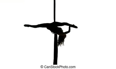 Man dancer on aerial silk, aerial contortion, aerial...
