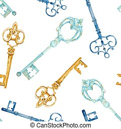 Keys pattern - Beautiful vector pattern with nice watercolor...