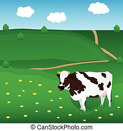 Vector cow grazes on the meadow