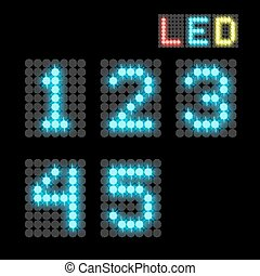 digits - vector set of led illuminated digits illustration...