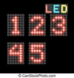 digits - vector set of led illuminated digits. illustration...