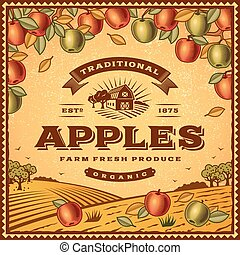Vintage apples label with landscape in woodcut style...